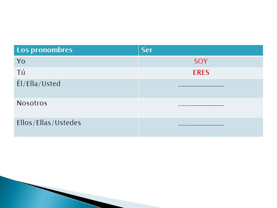 Los pronombresSer YoSOY TúERES Él/Ella/Usted_____________ Nosotros_____________ Ellos/Ellas/Ustedes_____________