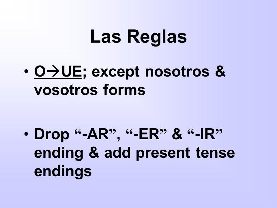 Las Reglas O UE; except nosotros & vosotros forms Drop -AR, -ER & -IR ending & add present tense endings