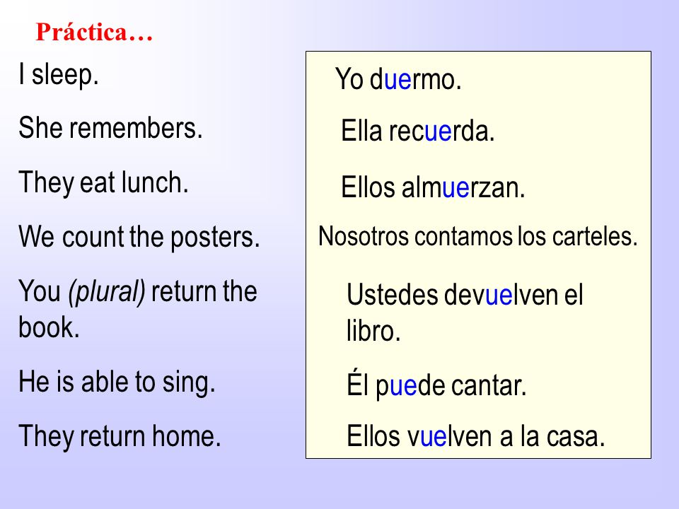 Práctica… I sleep. She remembers. They eat lunch. We count the posters. You (plural) return the book. He is able to sing. They return home. Yo duermo.