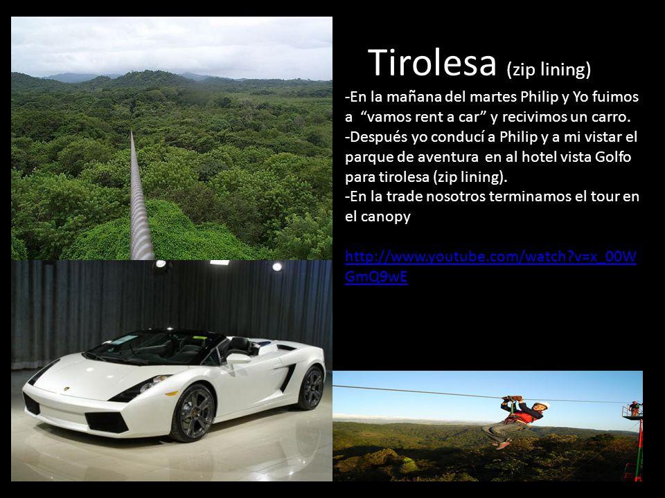 Tirolesa (zip lining) -En la mañana del martes Philip y Yo fuimos a vamos rent a car y recivimos un carro. -Después yo conducí a Philip y a mi vistar