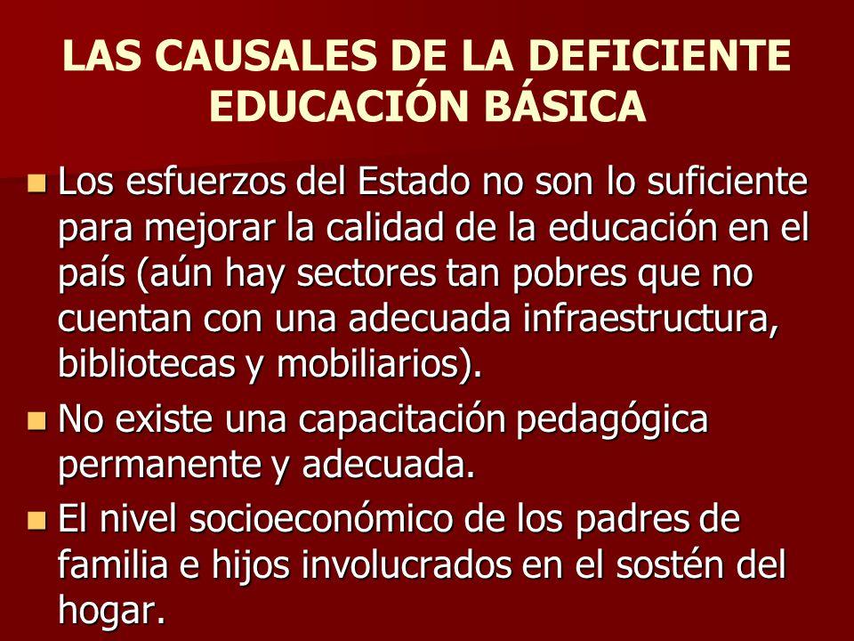 LAS CAUSALES DE LA DEFICIENTE EDUCACIÓN BÁSICA Los esfuerzos del Estado no son lo suficiente para mejorar la calidad de la educación en el país (aún h