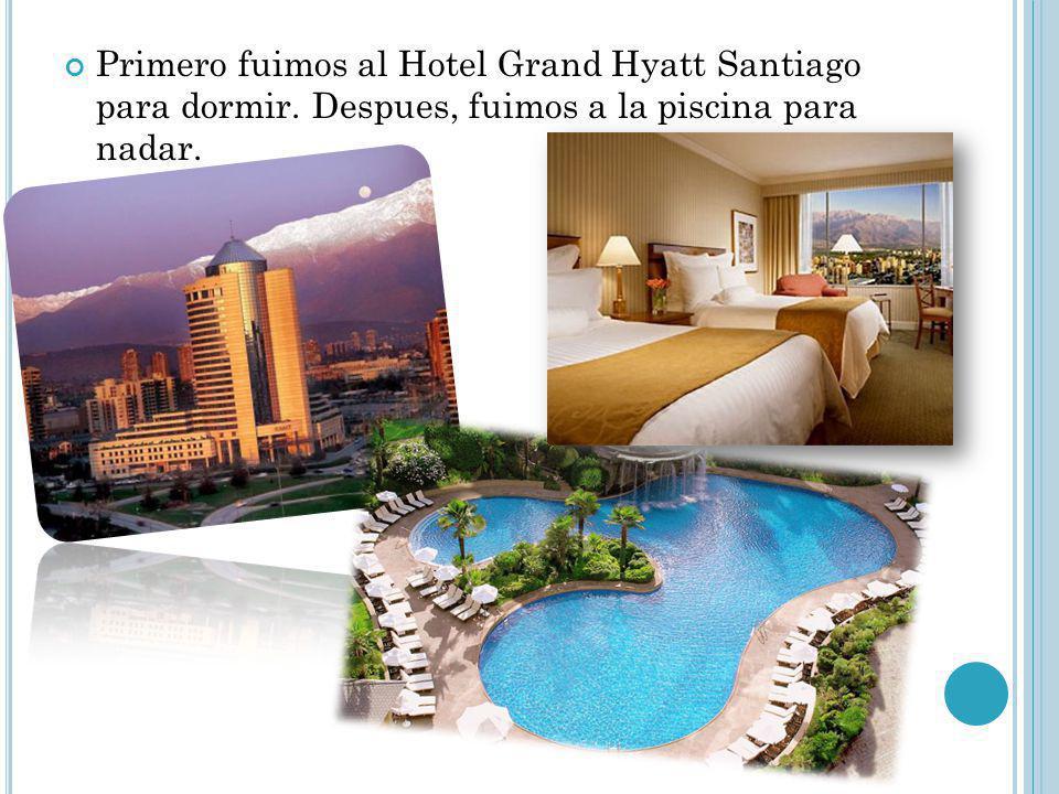 Primero fuimos al Hotel Grand Hyatt Santiago para dormir. Despues, fuimos a la piscina para nadar.