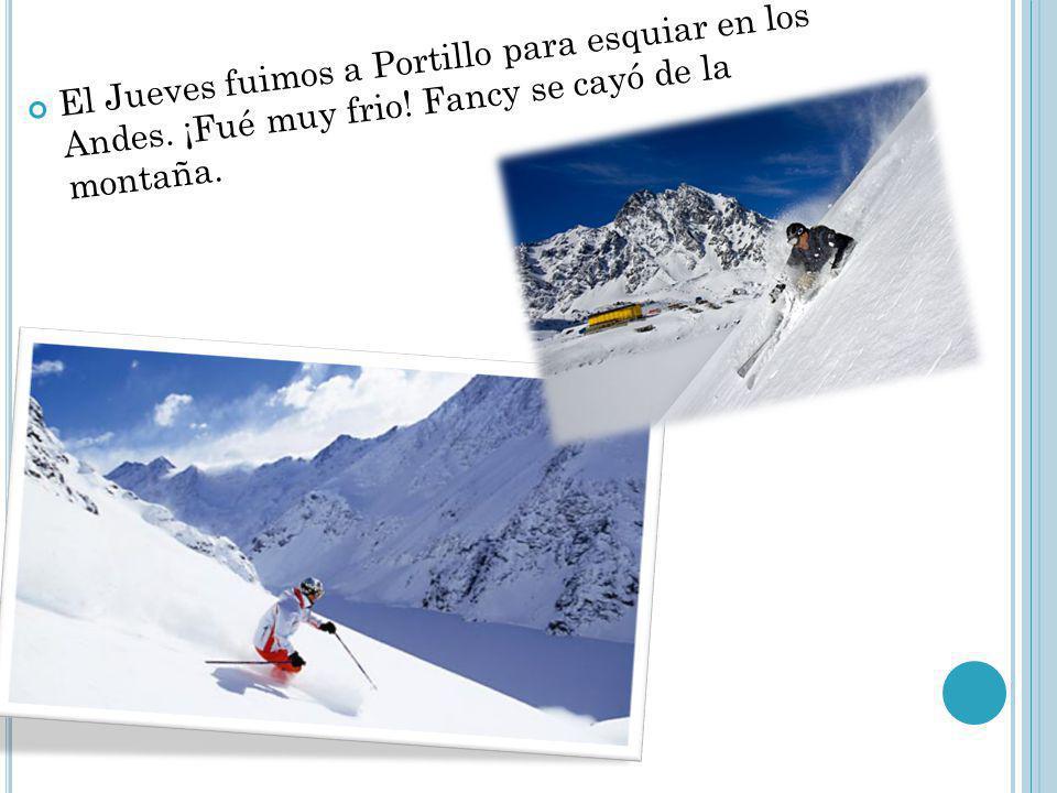 El Jueves fuimos a Portillo para esquiar en los Andes. ¡Fué muy frio! Fancy se cayó de la montaña.
