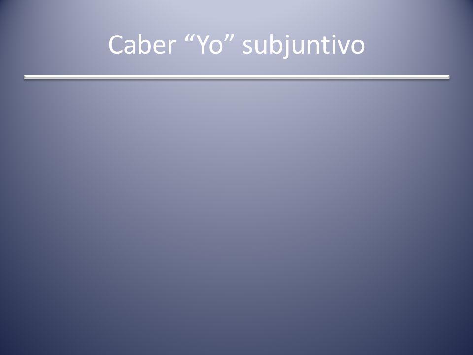Caber Yo subjuntivo