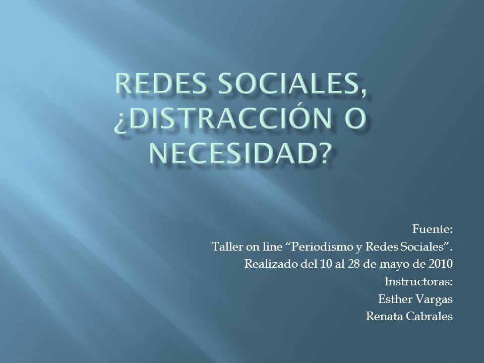 Fuente: Taller on line Periodismo y Redes Sociales. Realizado del 10 al 28 de mayo de 2010 Instructoras: Esther Vargas Renata Cabrales
