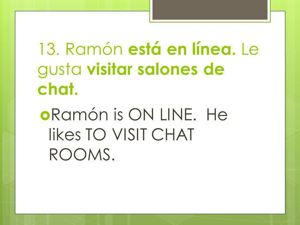 13. Ramón está en línea. Le gusta visitar salones de chat.