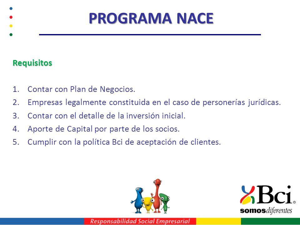 PROGRAMA NACE Requisitos 1.Contar con Plan de Negocios. 2.Empresas legalmente constituida en el caso de personerías jurídicas. 3.Contar con el detalle