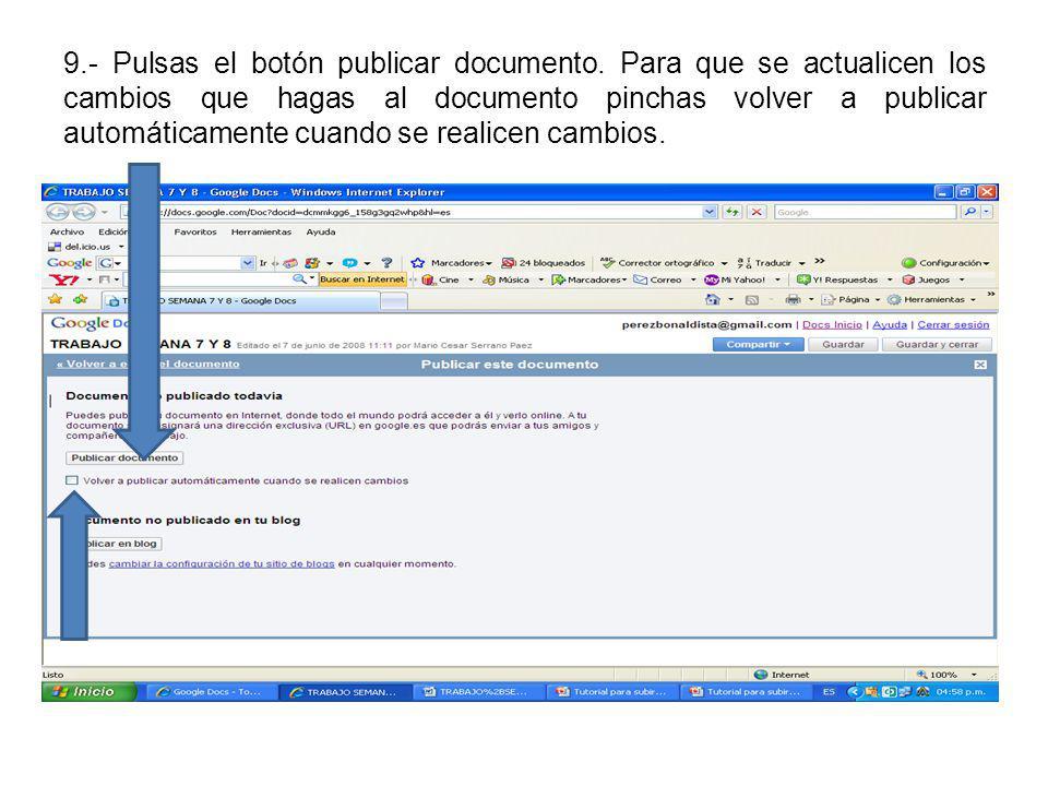 9.- Pulsas el botón publicar documento.