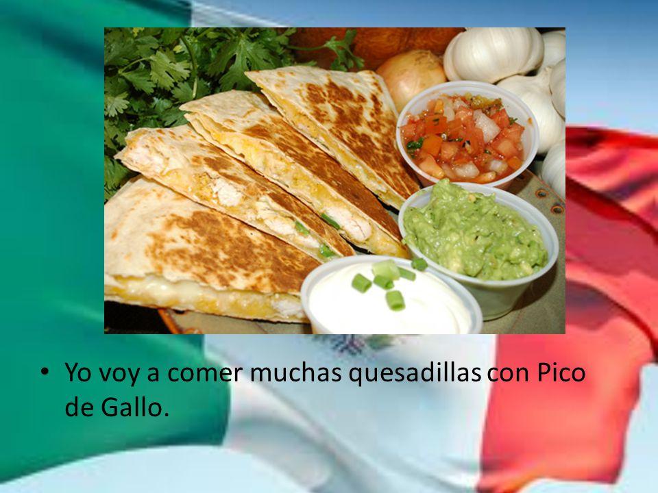 Yo voy a comer muchas quesadillas con Pico de Gallo.