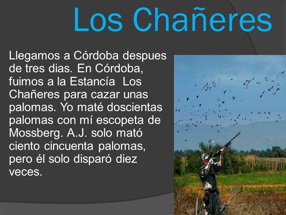 Los Chañeres Llegamos a Cόrdoba despues de tres dias. En Cόrdoba, fuimos a la Estancía Los Chañeres para cazar unas palomas. Yo maté doscientas paloma