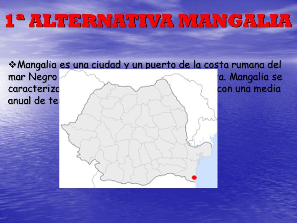 1ª ALTERNATIVA MANGALIA Mangalia es una ciudad y un puerto de la costa rumana del mar Negro al sureste del distrito de Constanţa. Mangalia se caracter