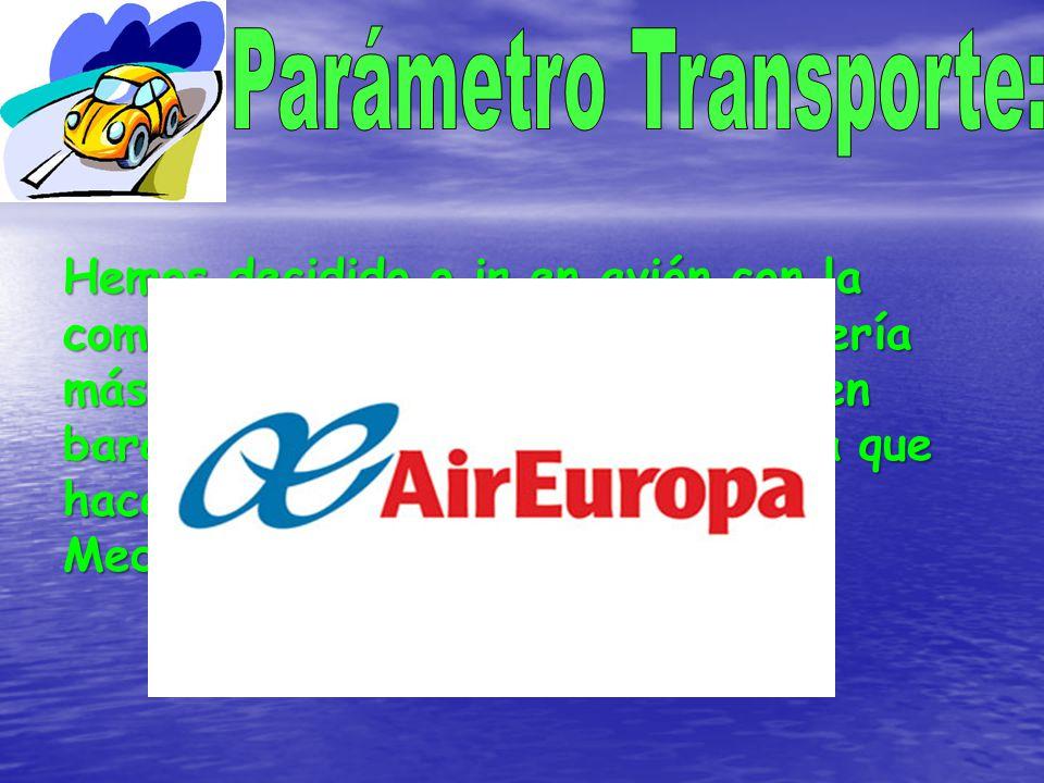 Hemos decidido o ir en avión con la compañía AirEuropa,o en coche sería más barato pero más incómodo o en barco que sería más caro y habría que hacer