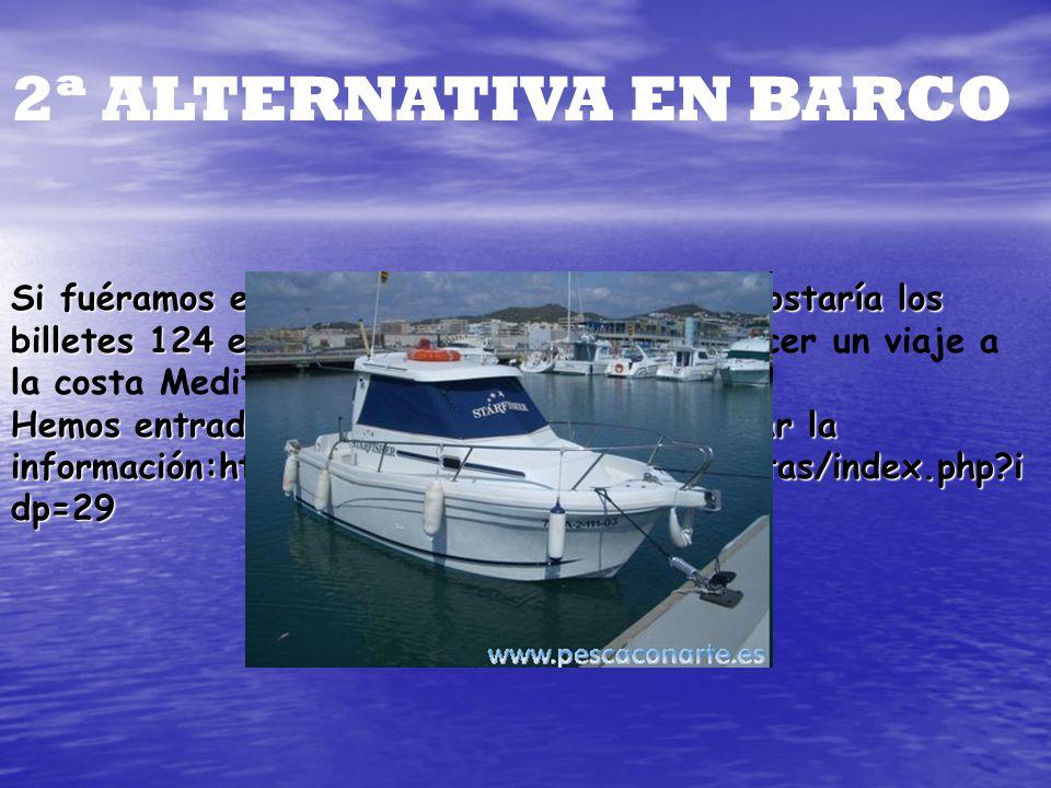 2ª ALTERNATIVA EN BARCO Si fuéramos en barco para 4 personas nos costaría los billetes 124 euros cada uno y Si fuéramos en barco para 4 personas nos c