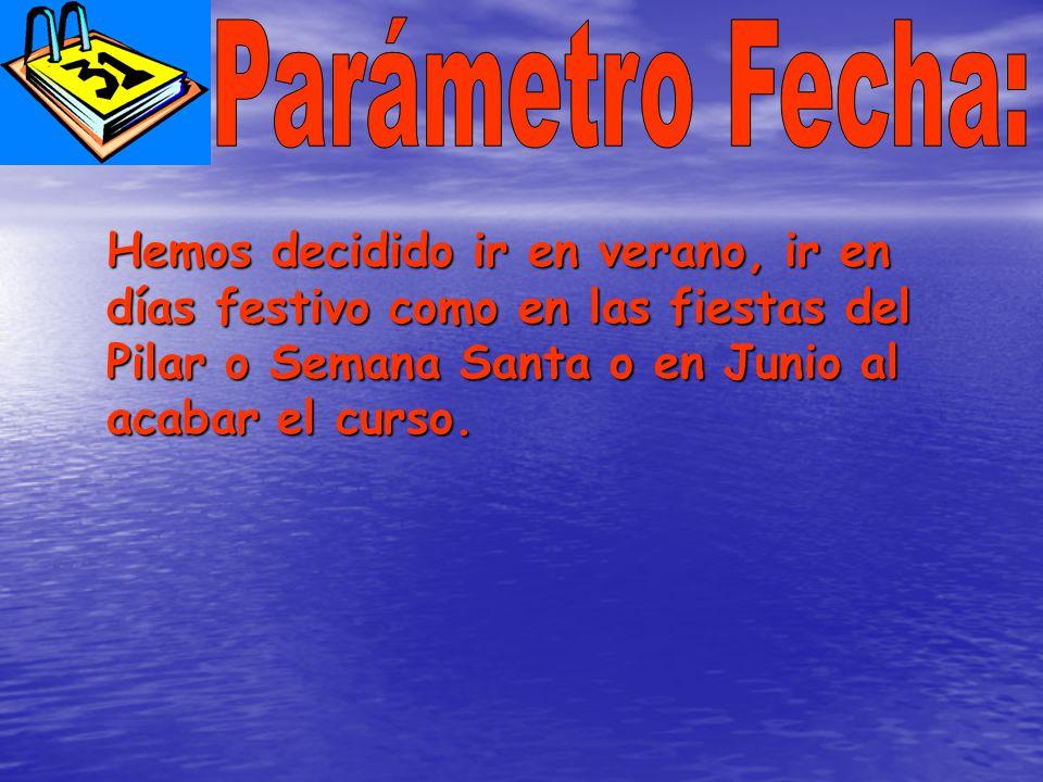 Hemos decidido ir en verano, ir en días festivo como en las fiestas del Pilar o Semana Santa o en Junio al acabar el curso.