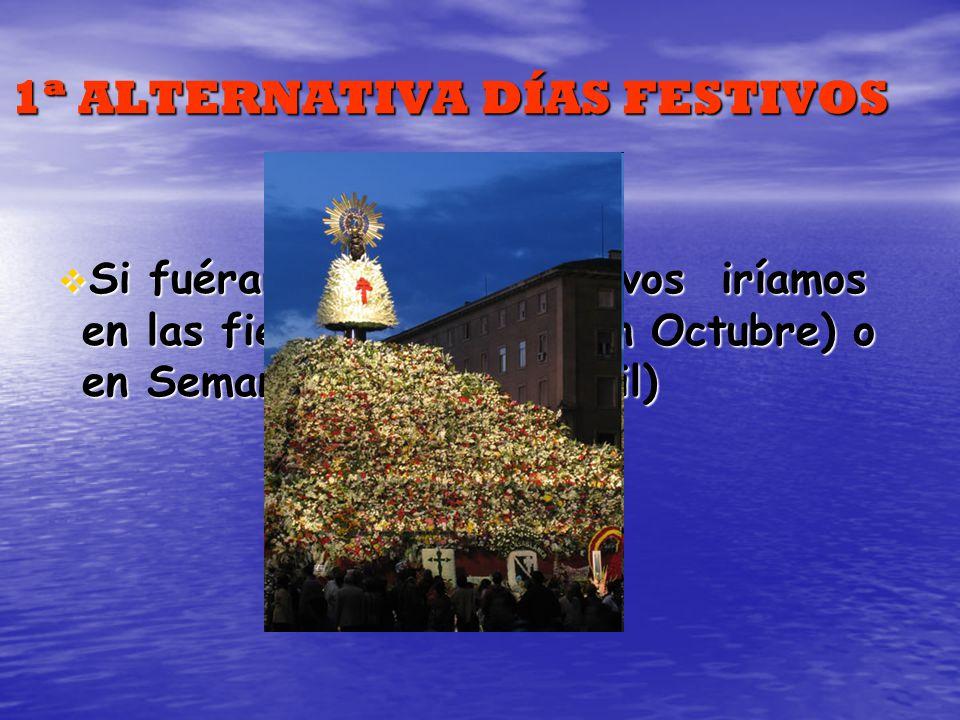 1ª ALTERNATIVA DÍAS FESTIVOS Si fuéramos en días festivos iríamos en las fiestas del Pilar (en Octubre) o en Semana Santa (en Abril) Si fuéramos en dí