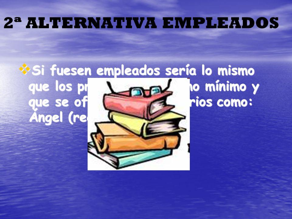 2ª ALTERNATIVA EMPLEADOS Si fuesen empleados sería lo mismo que los profesores, 3 como mínimo y que se ofreciesen voluntarios como: Ángel (recepción)