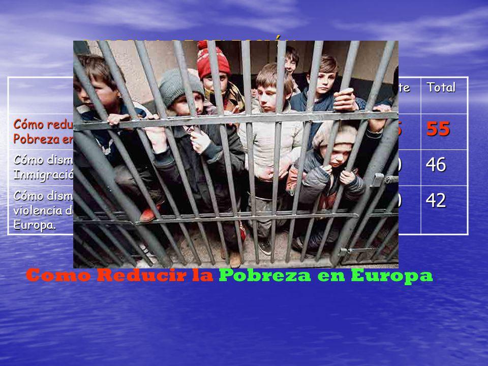 PARRILLA DE SELECCIÓN: OriginalidadFacilidadInteresanteTotal Cómo reducir la Pobreza en Europa. 5·4=205·2=105·5=2555 Cómo disminuir la Inmigración en