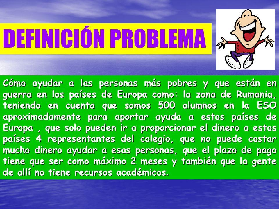DEFINICIÓN PROBLEMA Cómo ayudar a las personas más pobres y que están en guerra en los países de Europa como: la zona de Rumania, teniendo en cuenta q
