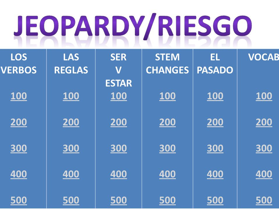 Back LOS VERBOS 100 200 300 400 500 LAS REGLAS 100 200 300 400 500 SER V ESTAR 100 200 300 400 500 STEM CHANGES 100 200 300 400 500 EL PASADO 100 200 300 400 500 VOCAB 100 200 300 400 500
