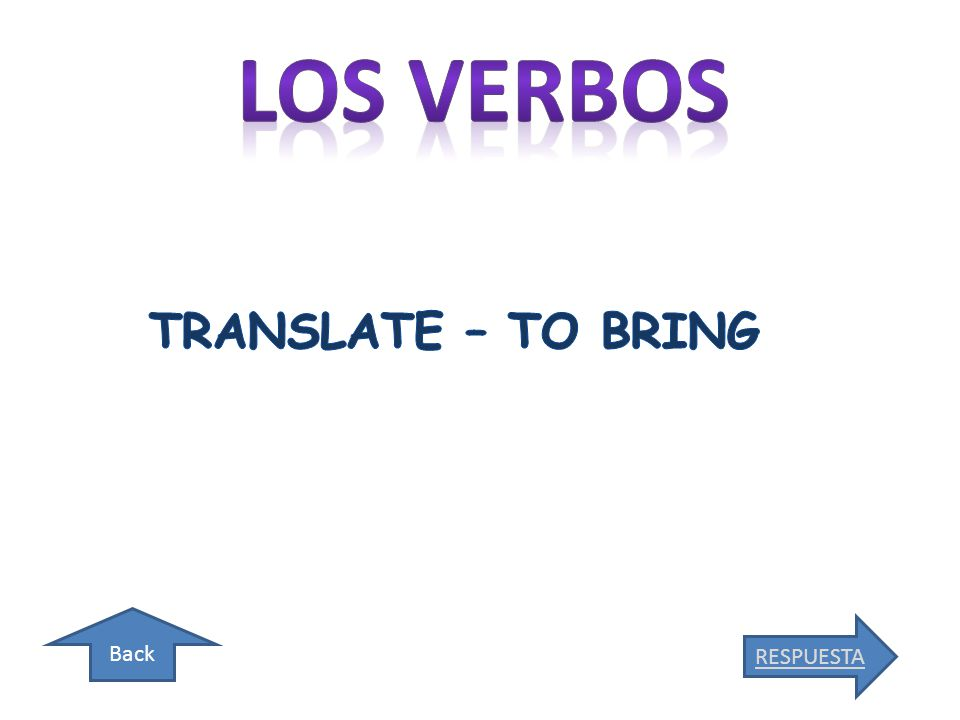 Back TRANSLATE – TO BE ABLE TO/CAN RESPUESTA