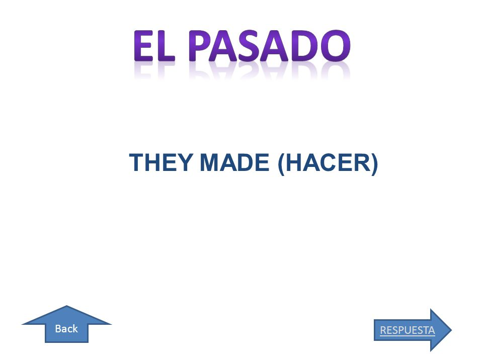 Back THEY MADE (HACER) RESPUESTA