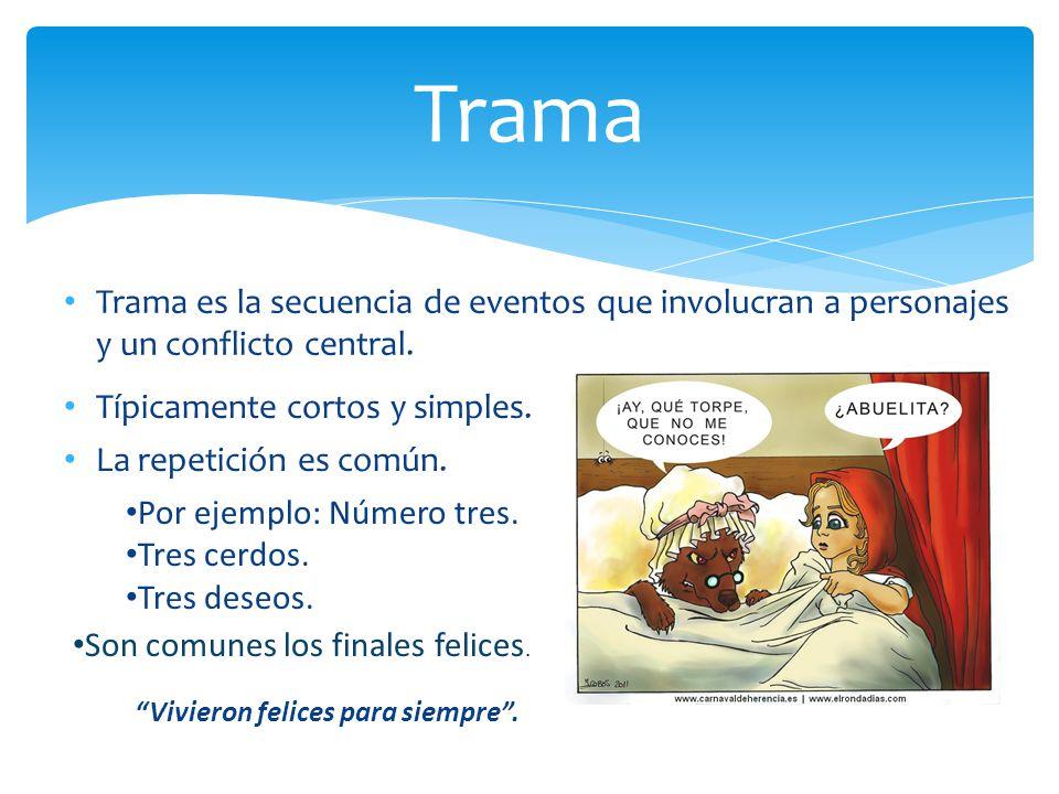 Trama es la secuencia de eventos que involucran a personajes y un conflicto central. Trama Típicamente cortos y simples. La repetición es común. Por e