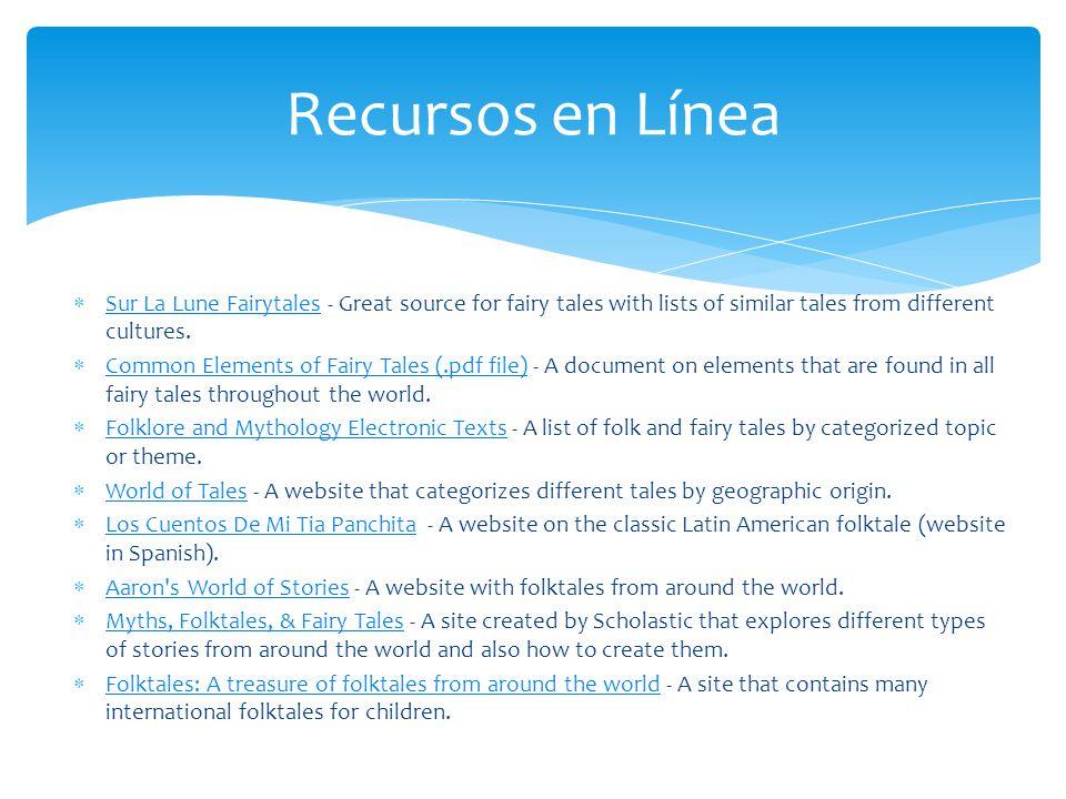 Recursos en Línea Sur La Lune Fairytales - Great source for fairy tales with lists of similar tales from different cultures. Sur La Lune Fairytales Co