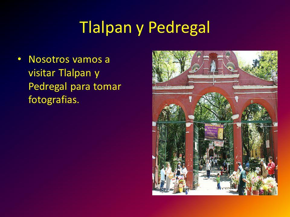 Tlalpan y Pedregal Nosotros vamos a visitar Tlalpan y Pedregal para tomar fotografias.