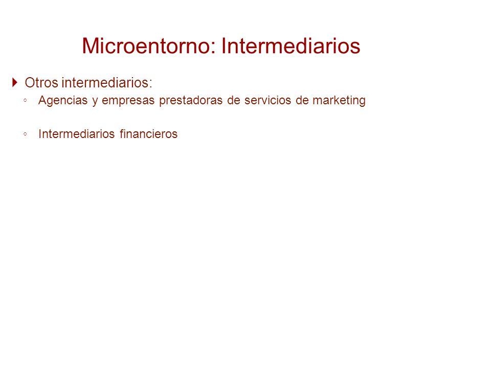 Otros intermediarios: Agencias y empresas prestadoras de servicios de marketing Intermediarios financieros Microentorno: Intermediarios
