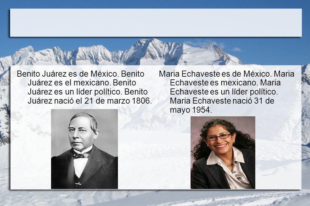 Benito Juárez es de México. Benito Juárez es el mexicano. Benito Juárez es un líder político. Benito Juárez nació el 21 de marzo 1806. Maria Echaveste