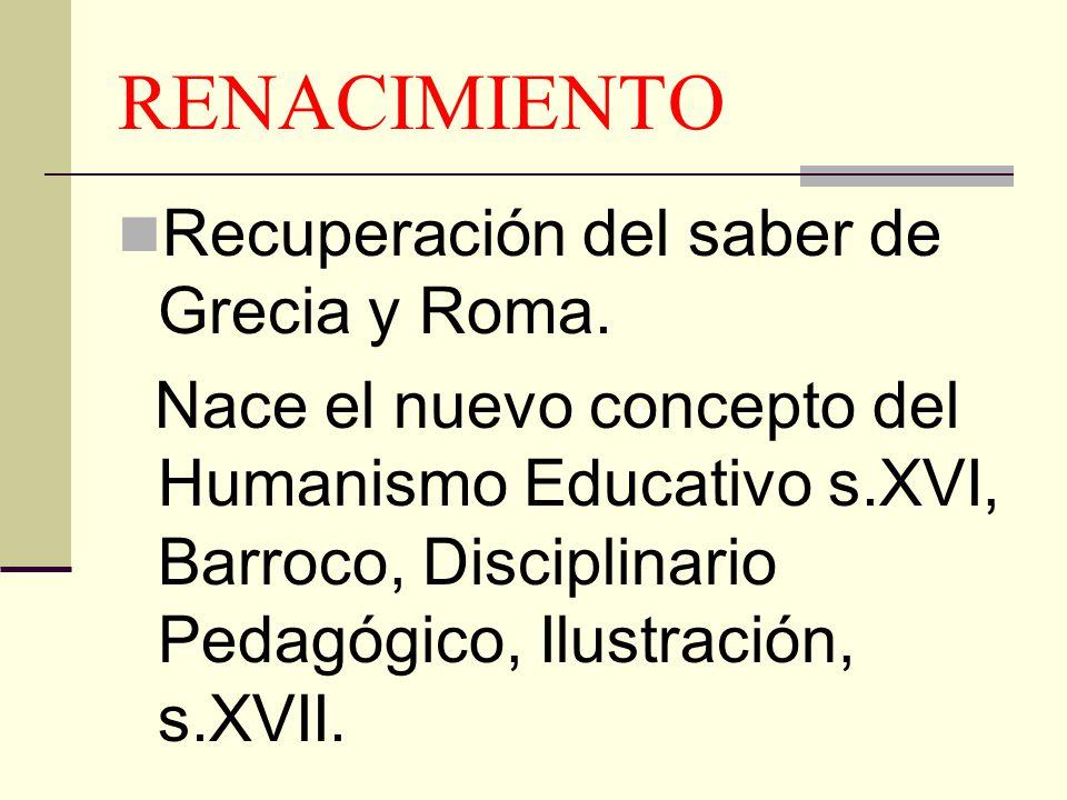 RENACIMIENTO Recuperación del saber de Grecia y Roma. Nace el nuevo concepto del Humanismo Educativo s.XVI, Barroco, Disciplinario Pedagógico, Ilustra