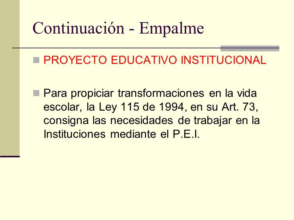Continuación - Empalme PROYECTO EDUCATIVO INSTITUCIONAL Para propiciar transformaciones en la vida escolar, la Ley 115 de 1994, en su Art. 73, consign