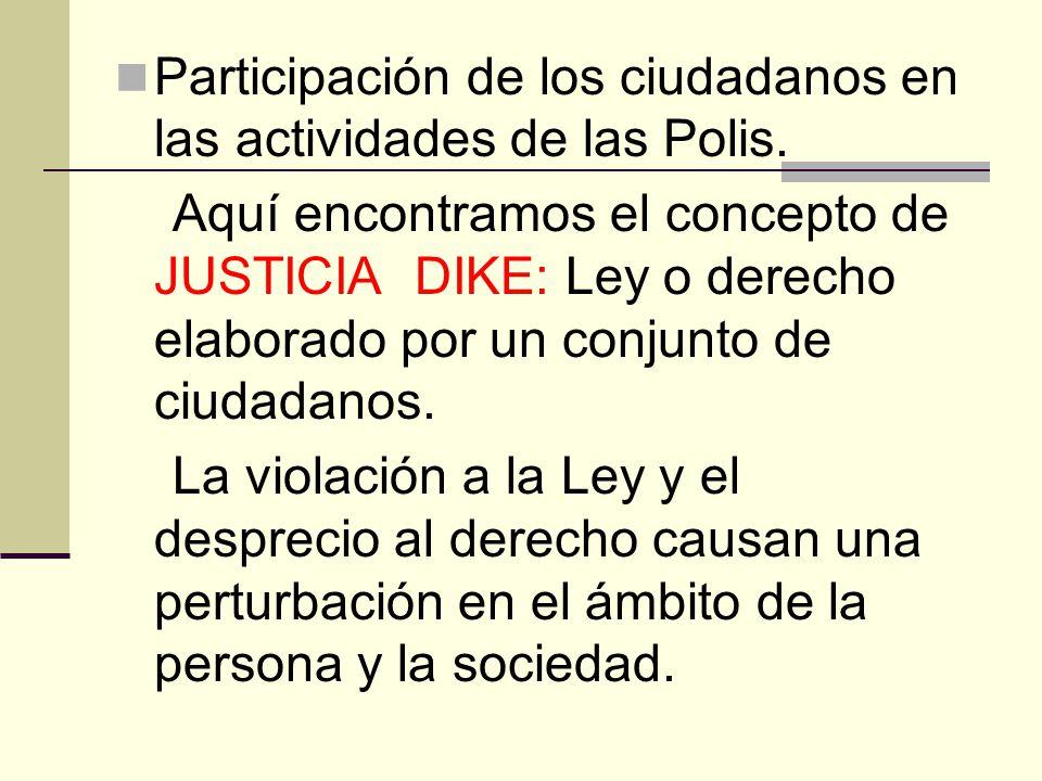 Participación de los ciudadanos en las actividades de las Polis. Aquí encontramos el concepto de JUSTICIA DIKE: Ley o derecho elaborado por un conjunt