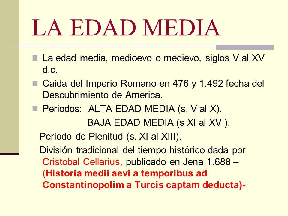 LA EDAD MEDIA La edad media, medioevo o medievo, siglos V al XV d.c. Caida del Imperio Romano en 476 y 1.492 fecha del Descubrimiento de America. Peri