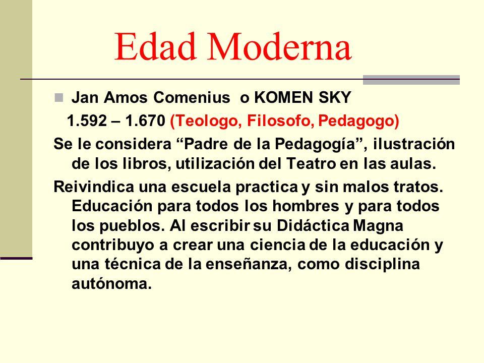 Edad Moderna Jan Amos Comenius o KOMEN SKY 1.592 – 1.670 (Teologo, Filosofo, Pedagogo) Se le considera Padre de la Pedagogía, ilustración de los libro