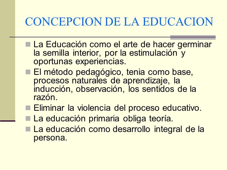 CONCEPCION DE LA EDUCACION La Educación como el arte de hacer germinar la semilla interior, por la estimulación y oportunas experiencias. El método pe