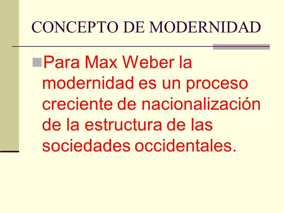 CONCEPTO DE MODERNIDAD Para Max Weber la modernidad es un proceso creciente de nacionalización de la estructura de las sociedades occidentales.