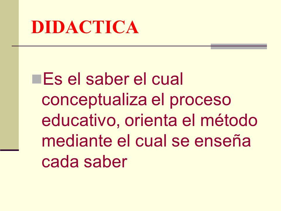 DIDACTICA Es el saber el cual conceptualiza el proceso educativo, orienta el método mediante el cual se enseña cada saber