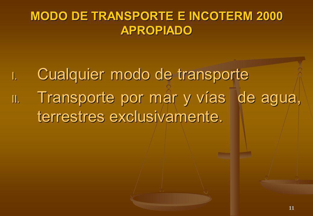 11 MODO DE TRANSPORTE E INCOTERM 2000 APROPIADO I. Cualquier modo de transporte II. Transporte por mar y vías de agua, terrestres exclusivamente.