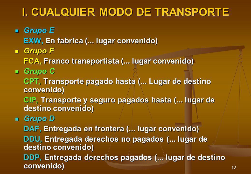 12 I. CUALQUIER MODO DE TRANSPORTE Grupo E Grupo E EXW, En fabrica (... lugar convenido) Grupo F Grupo F FCA, Franco transportista (... lugar convenid