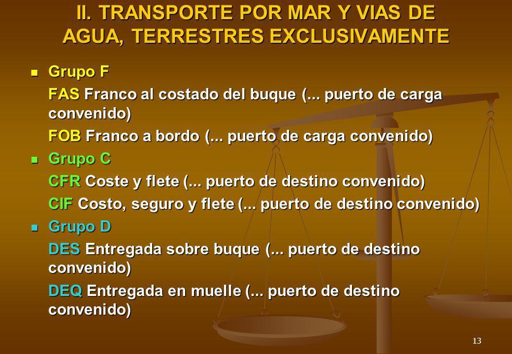 13 II. TRANSPORTE POR MAR Y VIAS DE AGUA, TERRESTRES EXCLUSIVAMENTE Grupo F Grupo F FAS Franco al costado del buque (... puerto de carga convenido) FO
