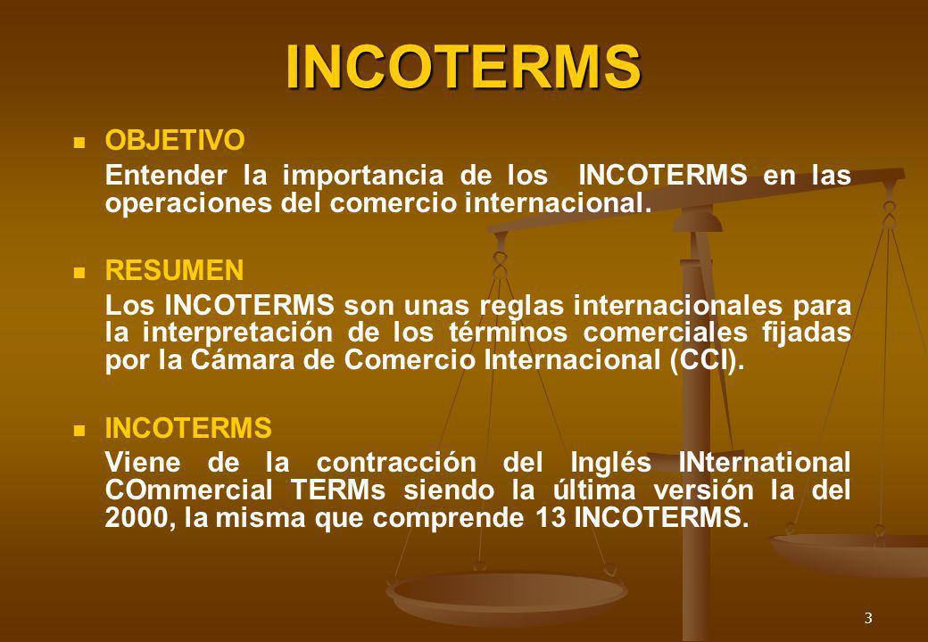 3 INCOTERMS OBJETIVO Entender la importancia de los INCOTERMS en las operaciones del comercio internacional. RESUMEN Los INCOTERMS son unas reglas int