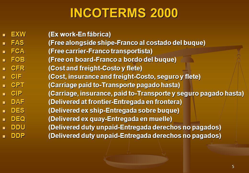 5 INCOTERMS 2000 EXW(Ex work-En fábrica) EXW(Ex work-En fábrica) FAS(Free alongside shipe-Franco al costado del buque) FAS(Free alongside shipe-Franco