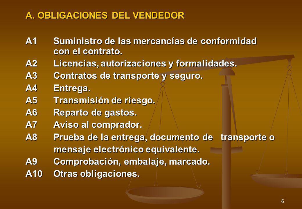 6 A. OBLIGACIONES DEL VENDEDOR A1Suministro de las mercancías de conformidad con el contrato. A2Licencias, autorizaciones y formalidades. A3Contratos