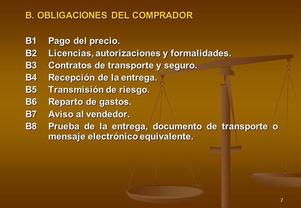 7 B. OBLIGACIONES DEL COMPRADOR B1Pago del precio. B2Licencias, autorizaciones y formalidades. B3Contratos de transporte y seguro. B4Recepción de la e