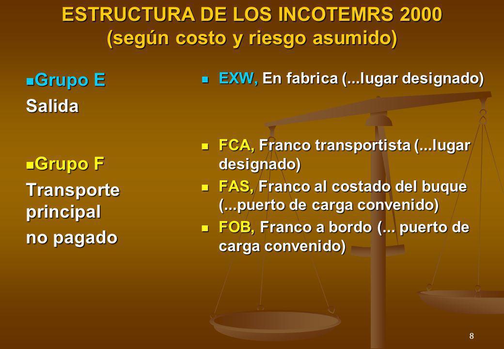 8 ESTRUCTURA DE LOS INCOTEMRS 2000 (según costo y riesgo asumido) EXW, En fabrica (...lugar designado) FCA, Franco transportista (...lugar designado)