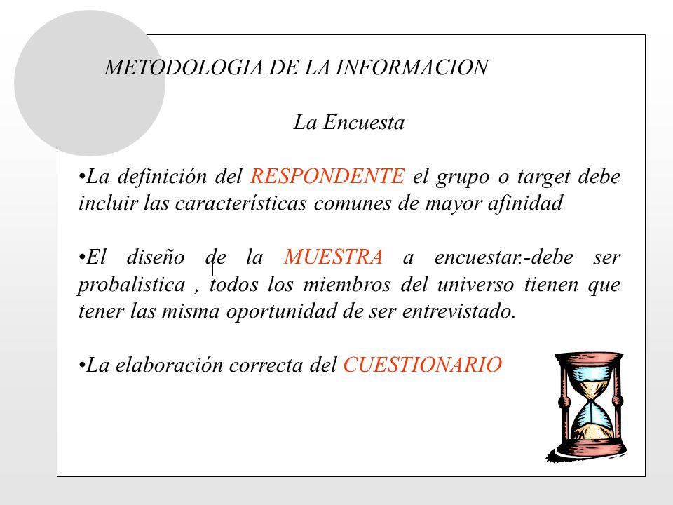 METODOLOGIA DE LA INFORMACION La Encuesta La definición del RESPONDENTE el grupo o target debe incluir las características comunes de mayor afinidad E