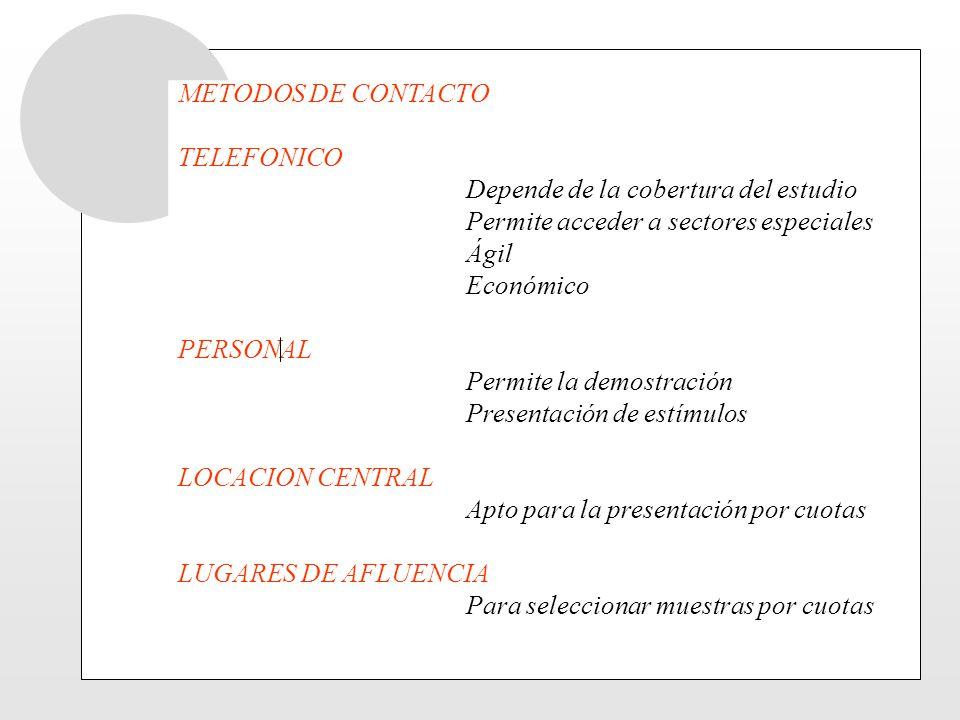 METODOS DE CONTACTO TELEFONICO Depende de la cobertura del estudio Permite acceder a sectores especiales Ágil Económico PERSONAL Permite la demostraci
