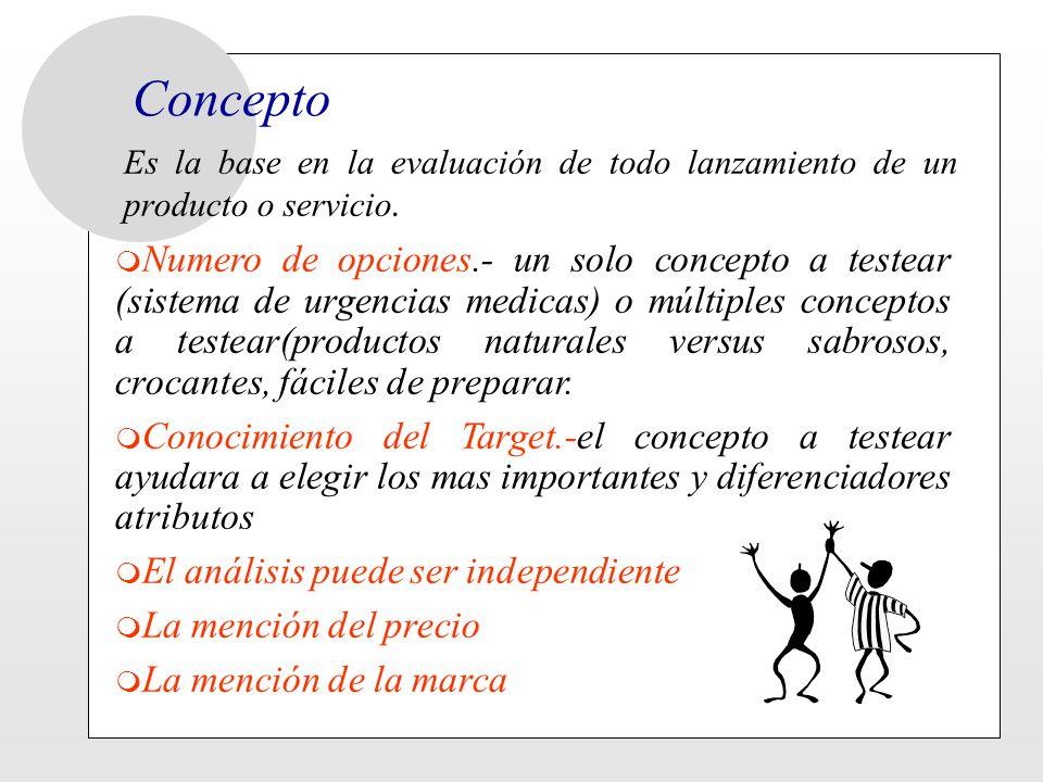 Concepto Es la base en la evaluación de todo lanzamiento de un producto o servicio. m Numero de opciones.- un solo concepto a testear (sistema de urge