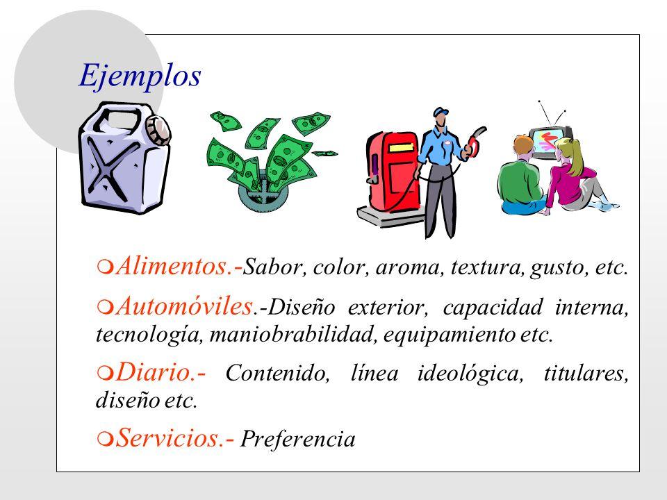 Ejemplos m Alimentos.- Sabor, color, aroma, textura, gusto, etc. m Automóviles.-Diseño exterior, capacidad interna, tecnología, maniobrabilidad, equip